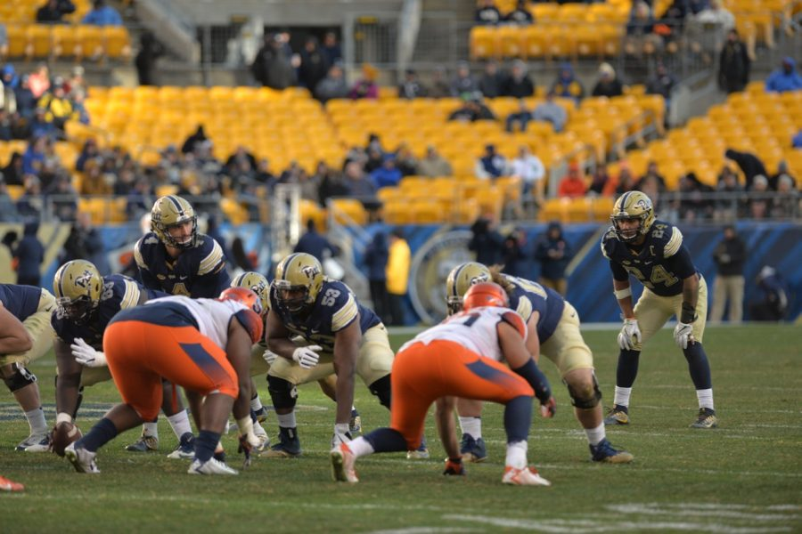 Pitt QB Nathan Peterman (4) and RB James Conner (24) combined for eight total touchdowns in Pitt's 76-61 victory. Steve Rotstein | Contributing Editor