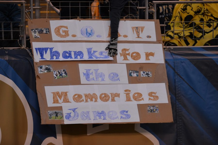 Fans brought signs thanking several of Pitt's 19 seniors for their final home game, as well as redshirt junior James Conner, who will decide after Pitt's bowl game whether he will turn pro or return for one more season. Steve Rotstein | Contributing Editor