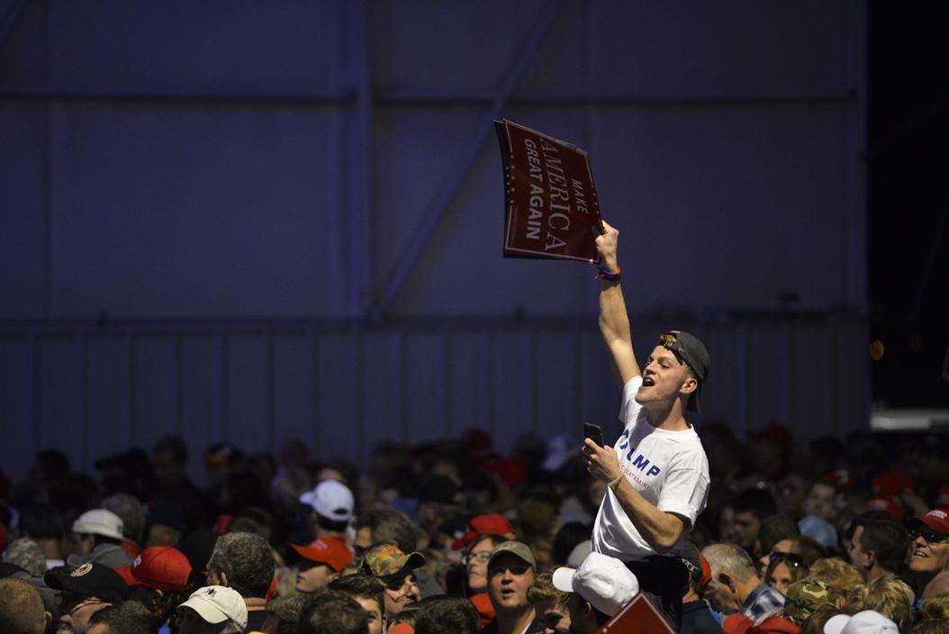 "Before the rally, a man starts a ""Trump, Trump"" chant. John Hamilton | Senior Staff Photographer"