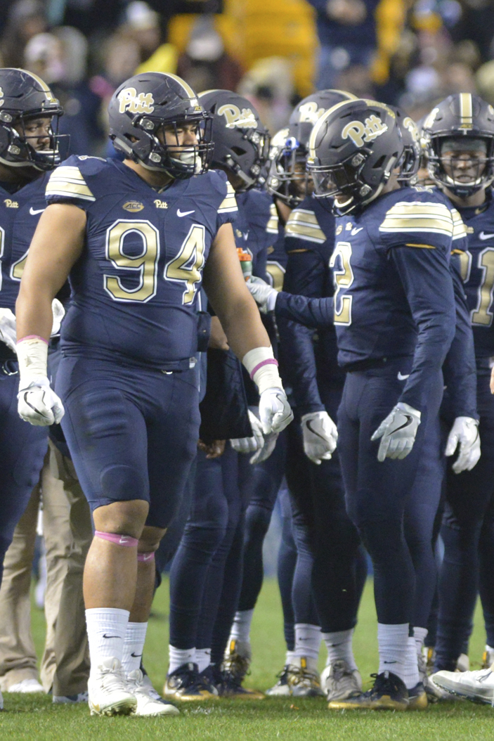 Pitt DT Jeremiah Taleni (94) is a candidate to start for the Panthers against Clemson on Saturday. Theo Schwarz | Senior Staff Photographer