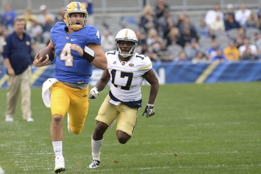 Pitt+quarterback+Nathan+Peterman+is+coming+off+a+career-best+performance+in+the+Panthers%27+43-42+win+over+Clemson.+Jeff+Ahearn+%7C+Senior+Staff+Photographer
