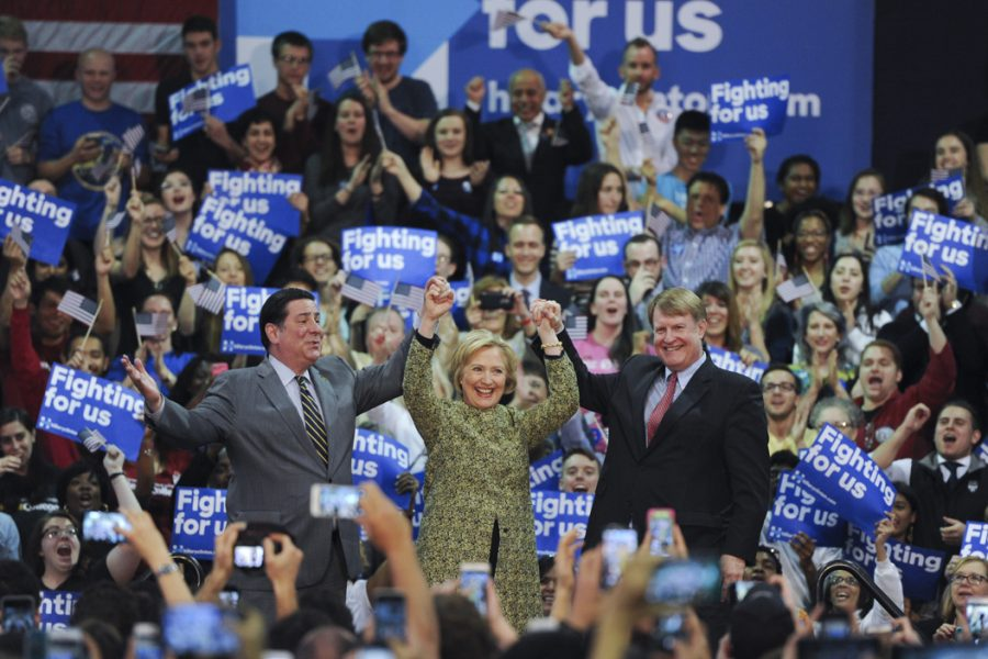 During the Democratic primaries, Hillary Clinton held her first rally in Pittsburgh at Carnagie Mellon. She was joined by Mayor Bill Peduto (left) and Allegheny County Execuative Rich Fitzgerald (right). John Hamilton | Senior Staff Photographer