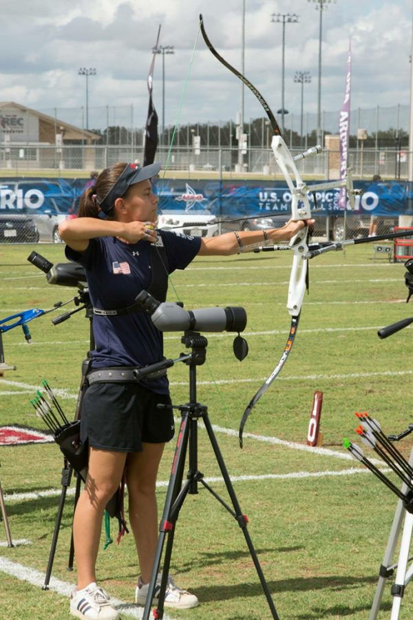 First-year+student+Julia+Lam%2C+one+of+three+Pitt+students+aiming+to+revive+the+Pitt+Archery+Club%2C+participates+at+the+2016+US+Olympic+Team+Trials.+%7C+Courtesy+of+Julia+Lam