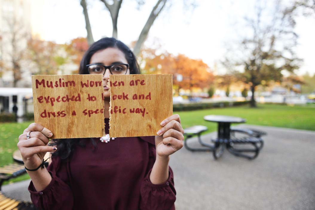 Pitt junior Sana Mahmood breaks the stereotype that Muslim women should dress and act in certain ways | Katie Krater, Staff Photographer