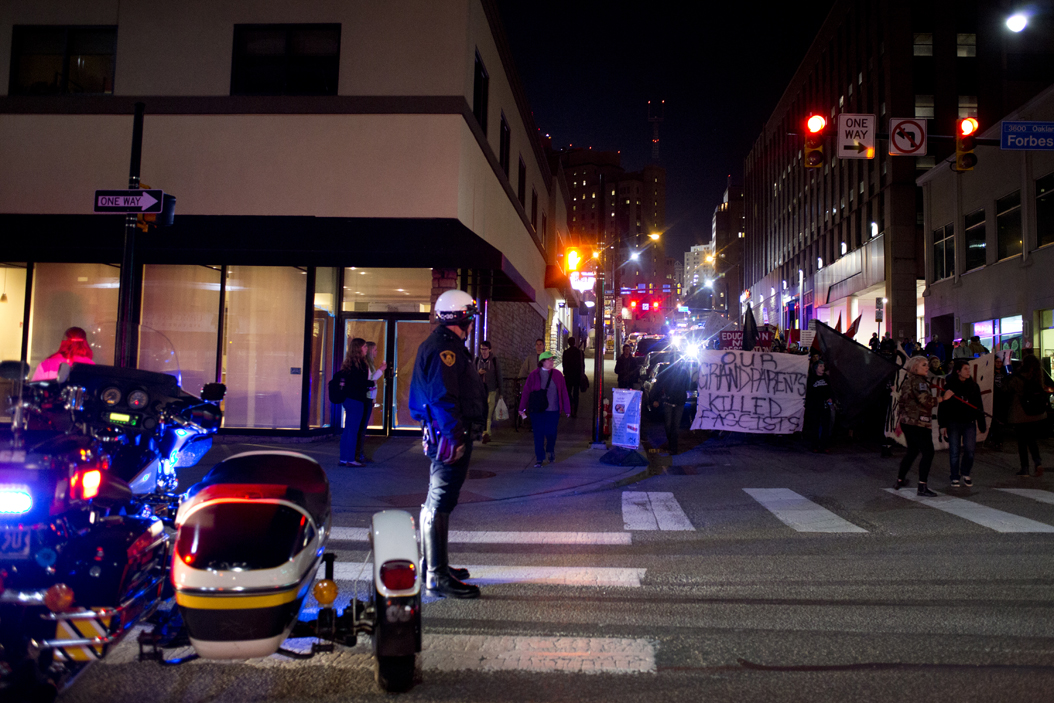A heavy police presence at Thursday's protests in Oakland caused controversy and a letter from Kenyon Bonner | John Hamilton, Senior Staff Photographer