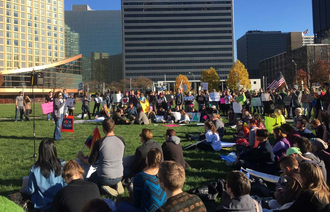 A crowd gathered at Point State Park on Sunday afternoon to peacefully protest the election of President-Elect Donald Trump | Lexi Kennell, Staff Writer
