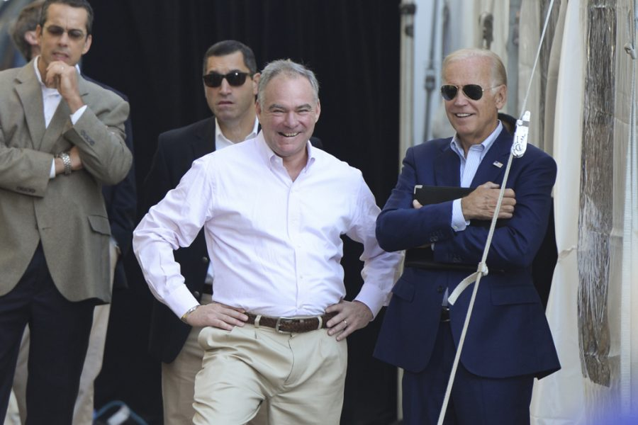 Vice President Job Biden and Vice Presidential candidate Tim Kaine wait backstage before speaking at the Pittsburgh Labor Day Parade. Stephen Caruso | Senior Staff Photographer