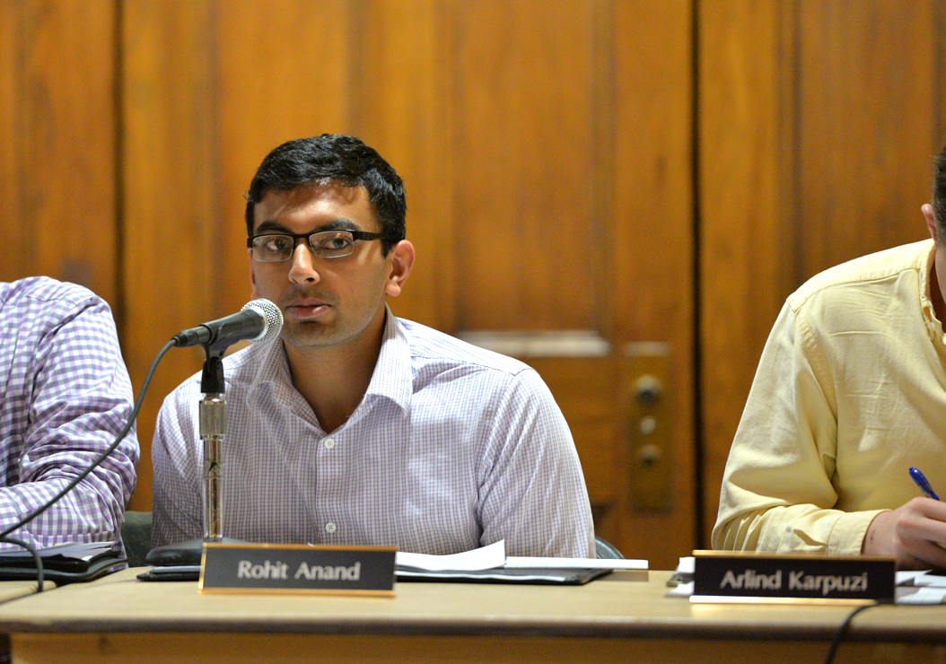 SGB Vice president and Chief of Cabinet Rohit Anand proposed changes to SafeRider Tuesday night. | William Miller, Senior Staff Photographer