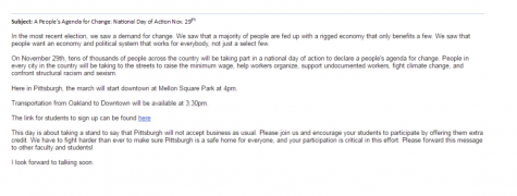 The email sent to professors in the School of Social Work.