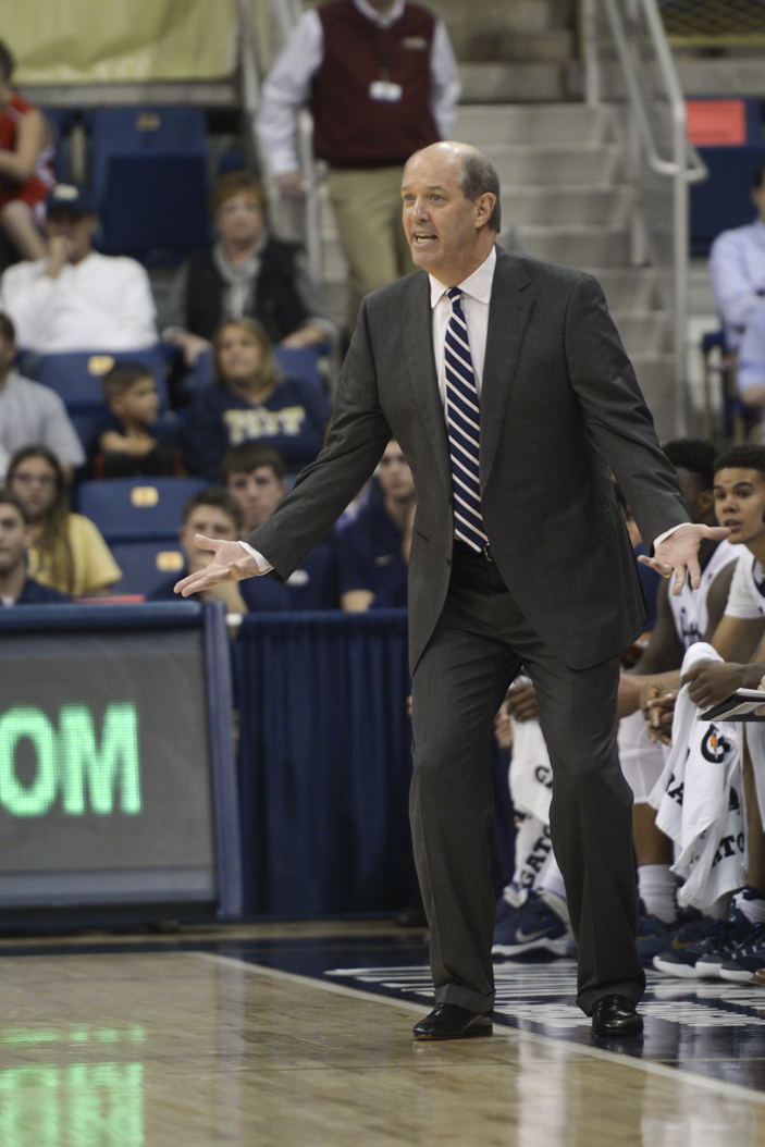 Pitt men's basketball head coach Kevin Stallings previewed the Panthers' first true road game of the season at Maryland Tuesday night. Wenhao Wu | Senior Staff Photographer