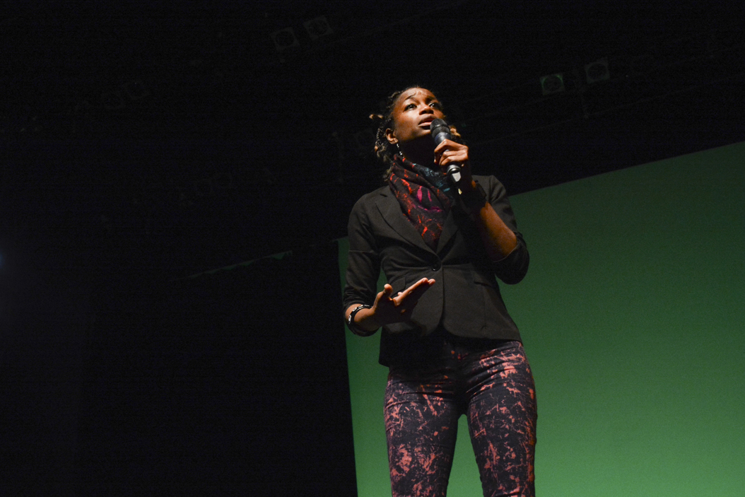 Writer, singer, and social activist YahNe Ndgo took the place of a sick Jill Stein as the headline speaker at an event at the Kelly Strayhorn Theater on Tuesday night | Stephen Caruso, Senior Staff Photographer