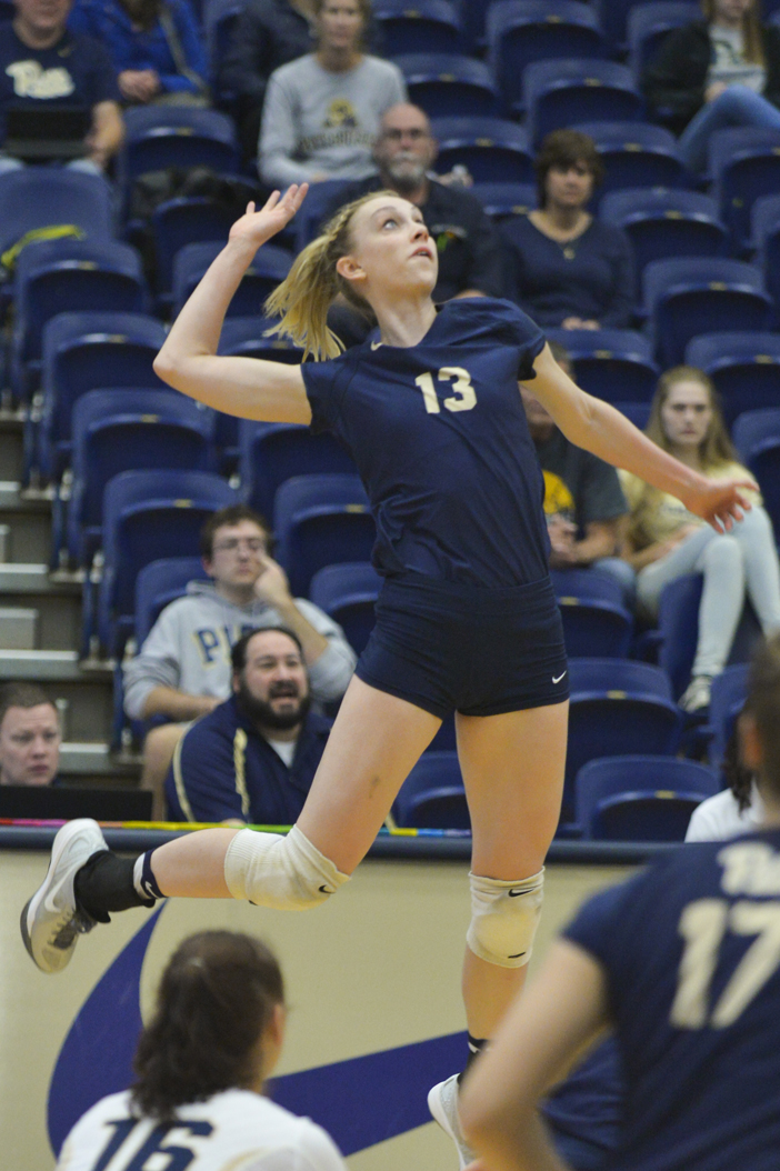 Stephanie Williams (13) accumulated 14 kills for the Pitt volleyball team in a season-ending 3-1 loss to Penn State. Meghan Sunners | Senior Staff Photographer