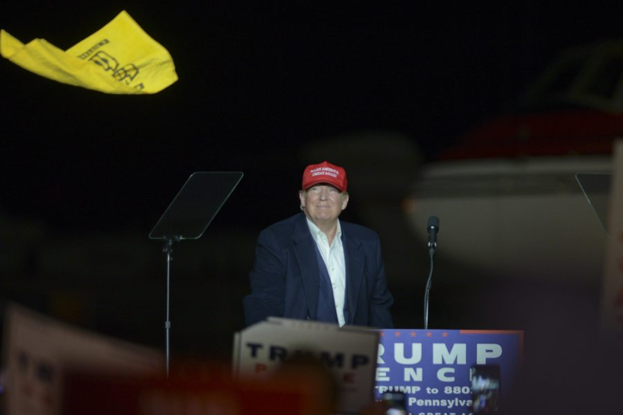 After+stepping+of+his+plane+at+the+Atlantic+Aviation+Hangar+at+Pittsburgh+International+Airport%2C+Republican+presidential+candidate+Donald+Trump+waves+a+terrible+towel+and+throws+it+into+the+crowd+before+his+speech.+John+Hamilton+%7C+Senior+Staff+Photographer