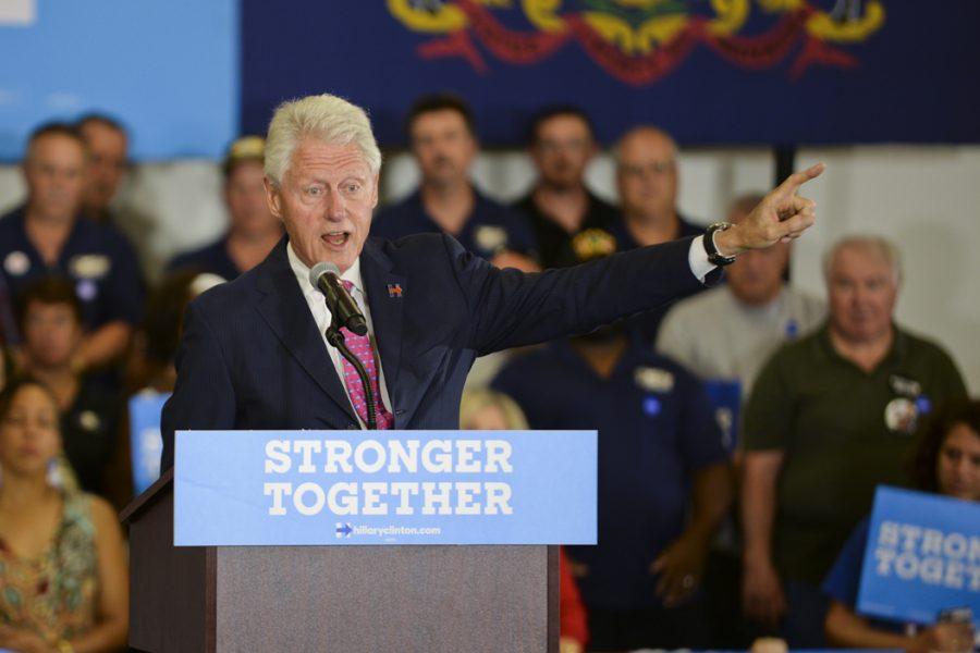 TK date. In addition to Hillary Clinton's four rallies in the Pittsburgh area, her husband, former President Bill Clinton, also made a few visits.