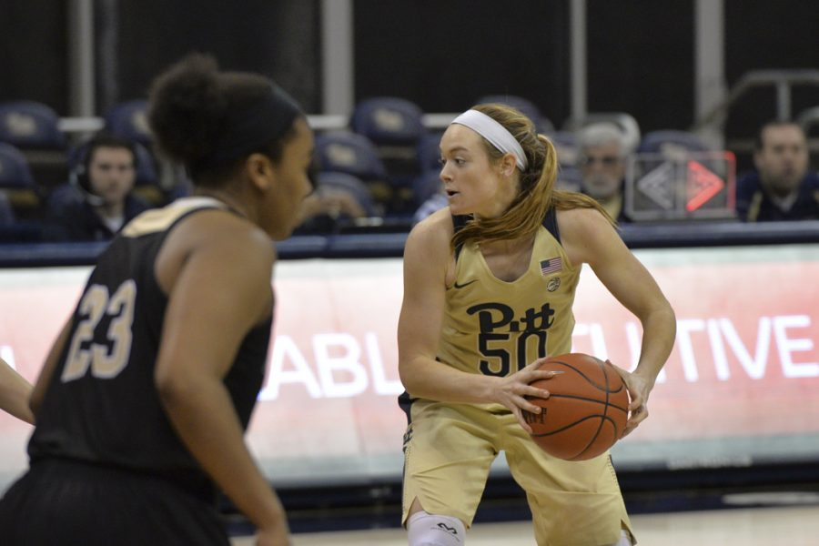 Pitt+sophomore+forward+Brenna+Wise+%2850%29+led+the+Panthers+with+25+points+Tuesday+against+McNeese+State.+Anna+Bongardino+%7C+Staff+Photographer