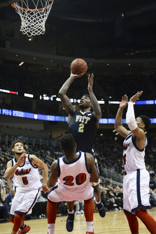 Pitt+F+Michael+Young+%282%29+is+looking+forward+to+his+last+City+Game+against+Duquesne+on+Friday.+Wenhao+Wu+%7C+Senior+Staff+Photographer