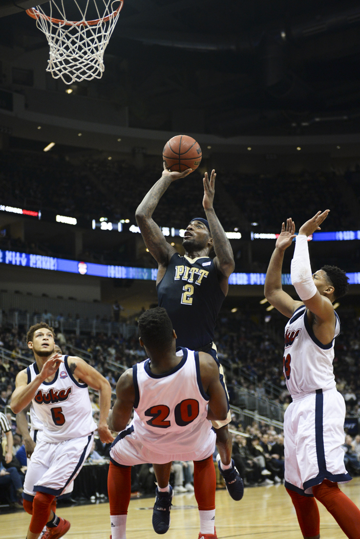 Pitt F Michael Young (2) is looking forward to his last City Game against Duquesne on Friday. Wenhao Wu | Senior Staff Photographer