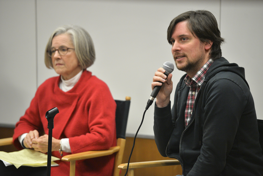 Margaret Whitmore and Matthias Sundberg, members of the Fred Rogers Company, spoke about Fred Rogers' legacy. Meghan Sunners, Senior Staff Photographer