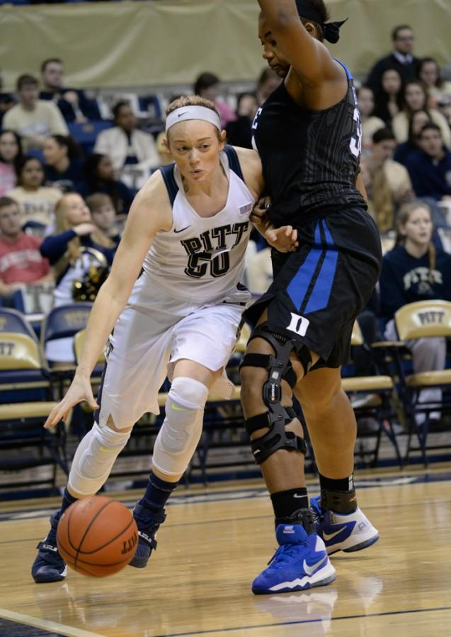 Pitt sophomore forward Brenna Wise (50) tallied 12 points in Pitt's 63-54 loss to Duquesne, her sixth game in a row scoring in double figures. Jeff Ahearn| Senior Staff Photographer