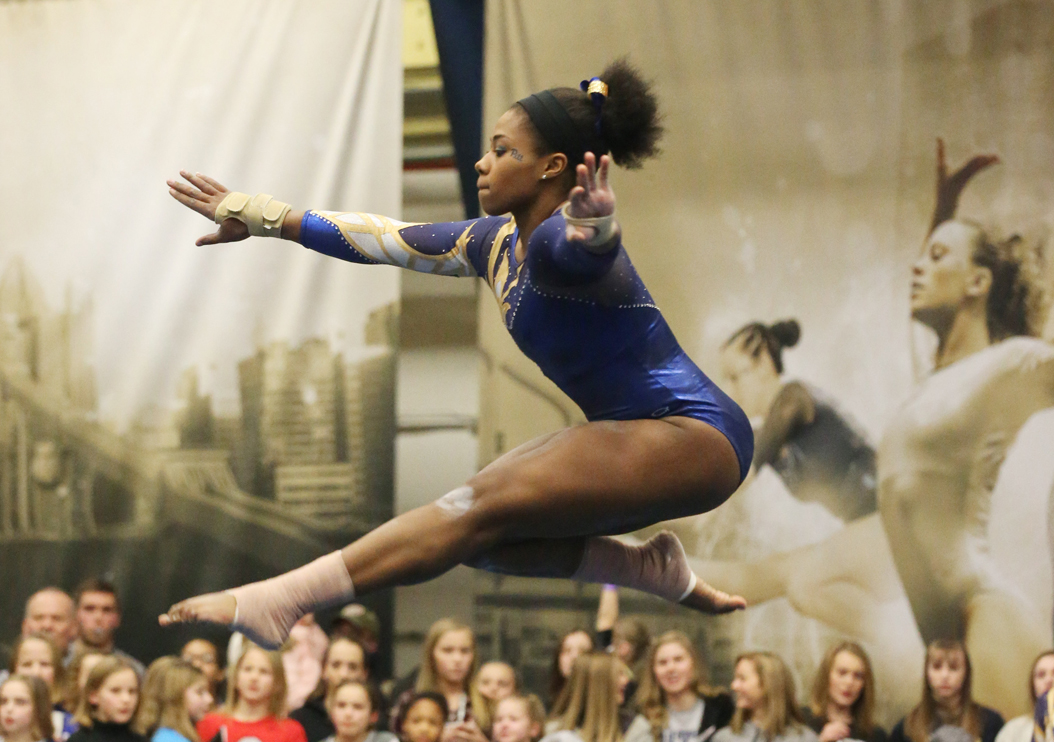 Pitt senior Tracey Pearson took second place in the all-around at the Panthers' season-opening meet against Ohio State. Courtesy of Charles LeClaire|Pitt Athletics