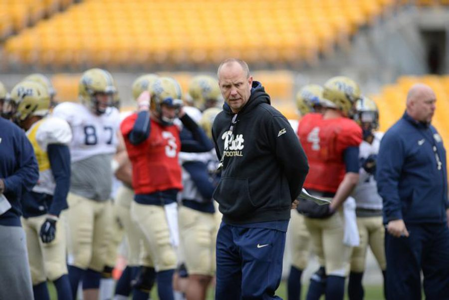 Matt+Canada+left+Pitt+after+one+season+to+take+over+as+offensive+coordinator+at+LSU.+Jeff+Ahearn+%7C+Senior+Staff+Photographer