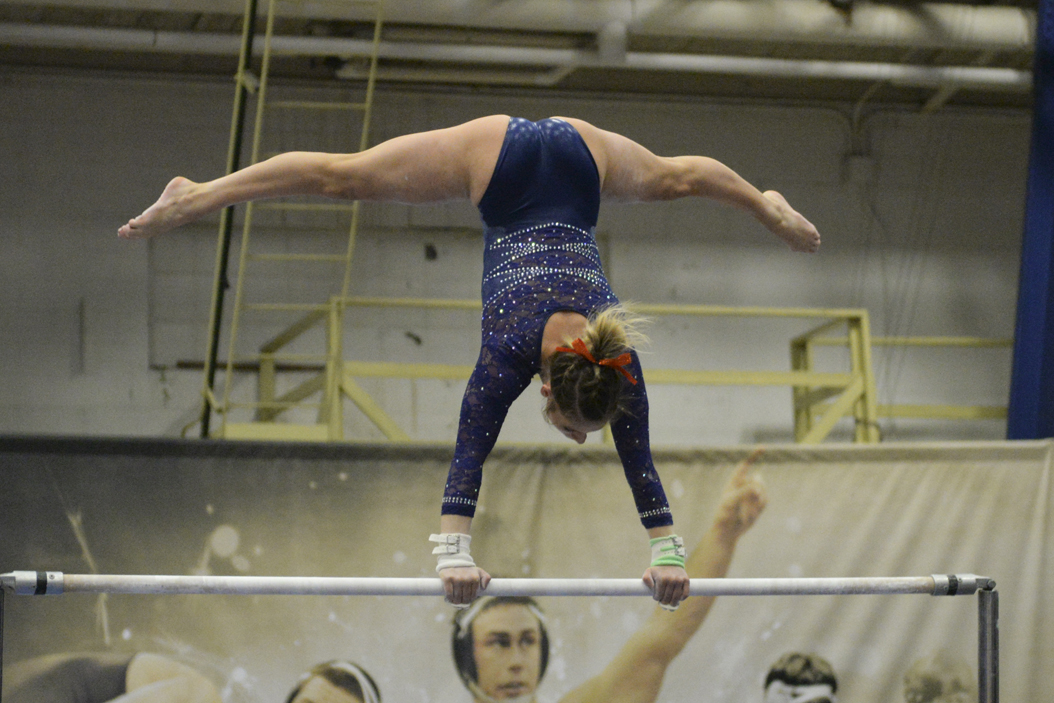 Pitt first-year gymnast Rachel Dugan picked up EAGL Rookie of the Week honors Wednesday. Jeff Ahearn | Senior Staff Photograp