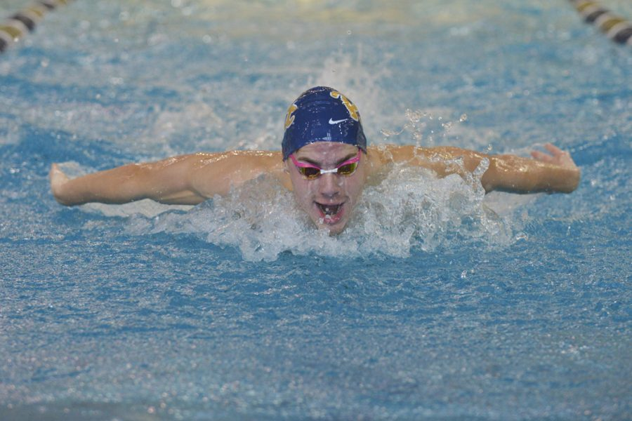 Pitt swimmer Eben Vorster swims for first place in the 200M butterfly. John Hamilton|Visual Editor