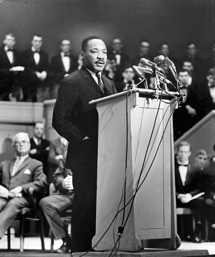 Dr. Martin Luther King, Jr. addresses the Sunday Evening Club at Orchestra Hall in Chicago in 1965. Jack Dykinga/Chicago Tribune/TNS