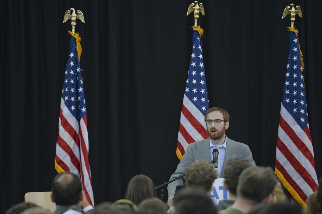 Dan Gilman speaks at a rally for Katie McGinty in September. John Hamilton | Visual Editor