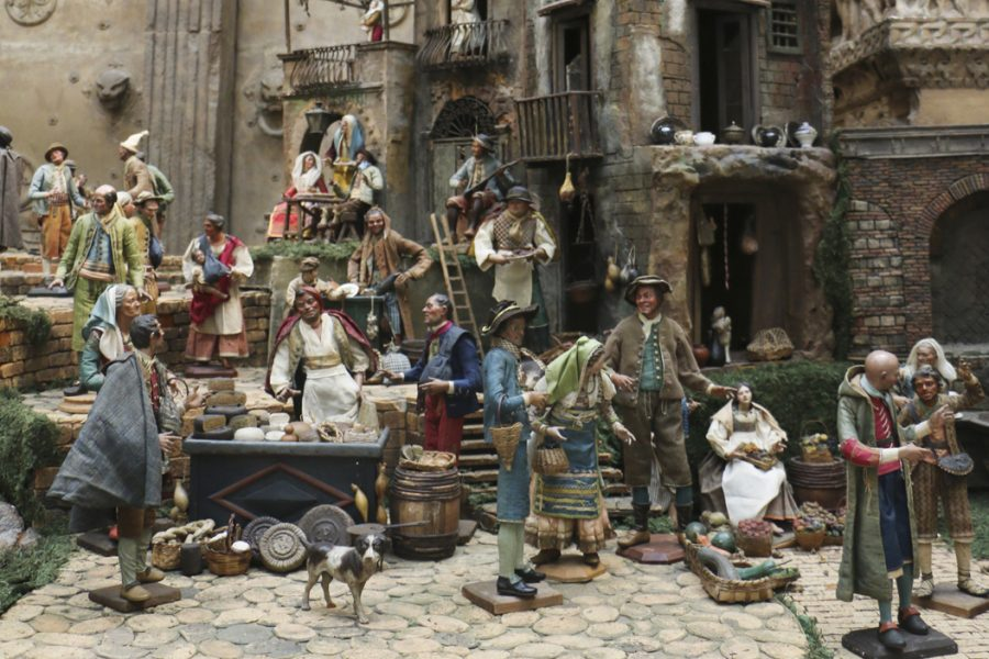The secular side of the presepio exhibit features figurines of Naples townspeople. Emily Brindley | Contributing Editor