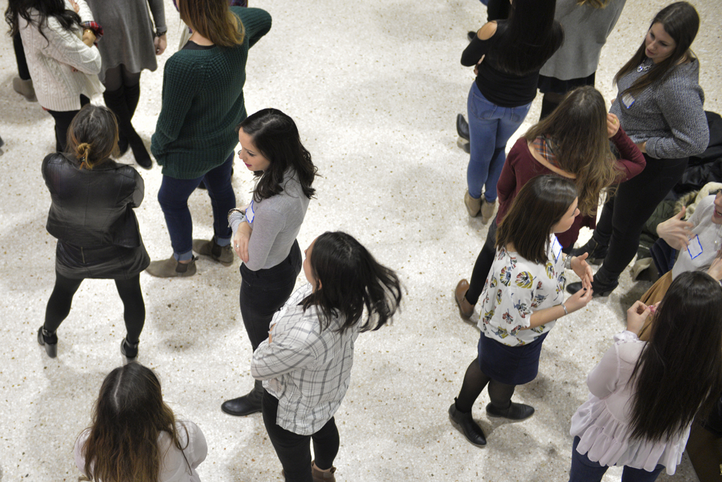 Sorority rushees wait outside the William Pitt Union Ballroom during the recruitment process. John Hamilton | Visual Editor
