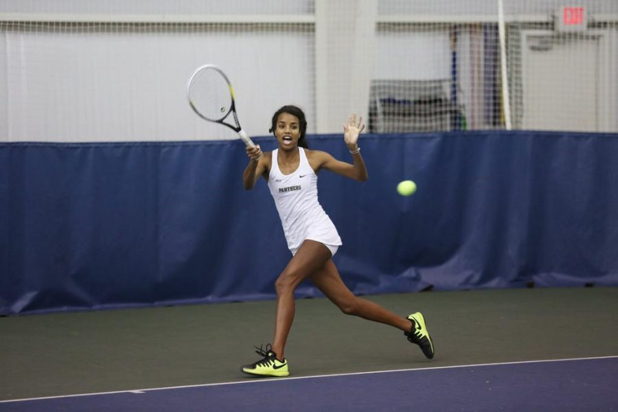 Senior Amber Washington lost 6-4 in her double's match with junior Callie Frey on Wednesday. Courtesy of Pitt Athletics