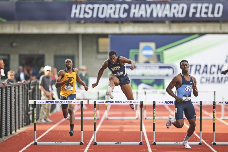 Desmond Palmer clears a hurdle at the 2016 NCAA Outdoor Track and Field National Championships. Courtesy of Pitt Athletics