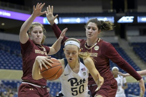 Pitt sophomore forward Brenna Wise (50) contributed 15 points and five rebounds in the Panthers' 56-43 win over Boston College. John Hamilton | Visual Editor