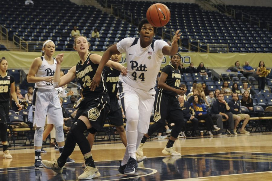 Pitt C Brandi Harvey-Carr (44) led the team with 14 points in the Panthers' ACC opener Monday night vs. Miami. Steve Rotstein | Contributing Editor