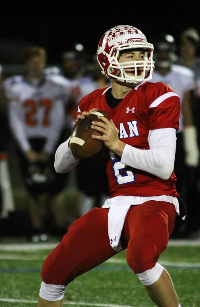 Incoming Pitt quarterback Kenny Pickett drops back to pass while at Ocean Township High School in New Jersey. Courtesy of Kasey Pickett