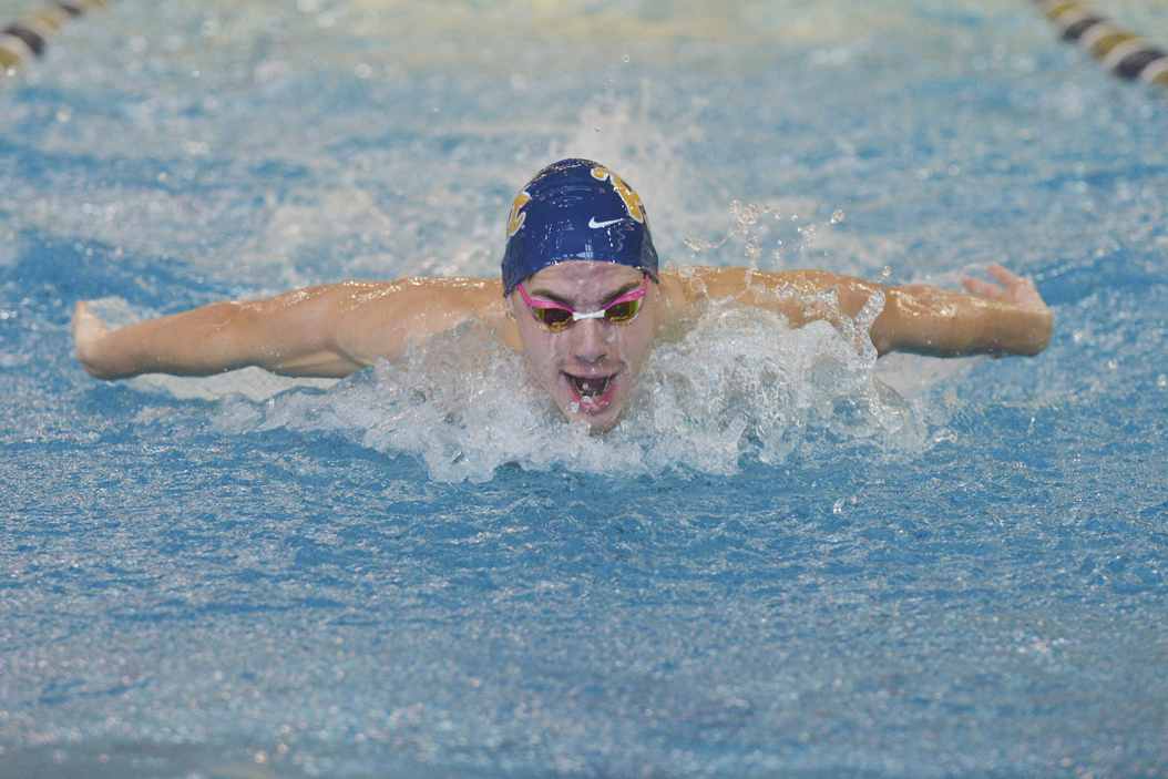 Pitt swimmer Eben Vorster swims for first place in the 200-meter butterfly against Florida State on Saturday. John Hamilton | Visual Editor