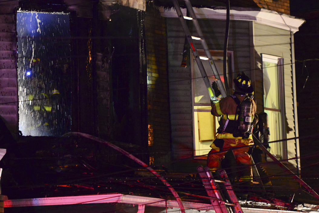 Pittsburgh Emergency Services responded to a fire on Joe Hammer Square on Sunday night. John Hamilton | Visual Editor