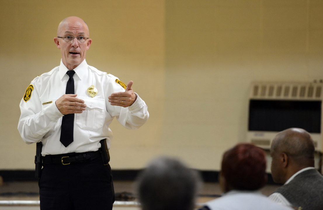 Former Police Chief Cameron McLay answers questions from community members on in 2014 as part of his effort to improve police and community relations. Julia Rendleman/Pittsburgh Post-Gazette/TNS