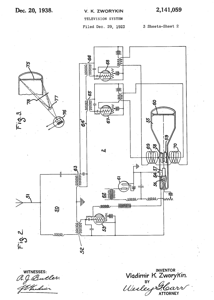 Part of Zworykin's 1923 patent. United States Patent Office