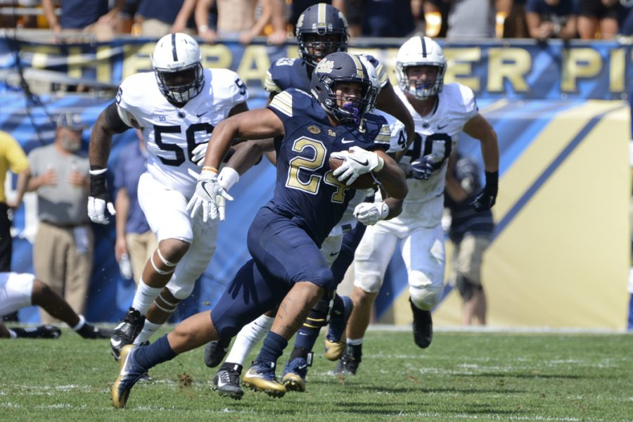 Pitt+running+back+James+Conner+rushed+for+117+yards+and+two+touchdowns+in+the+Panthers%27+42-39+victory+over+Penn+State.+Jeff+Ahearn+%7C+Senior+Staff+Photographer