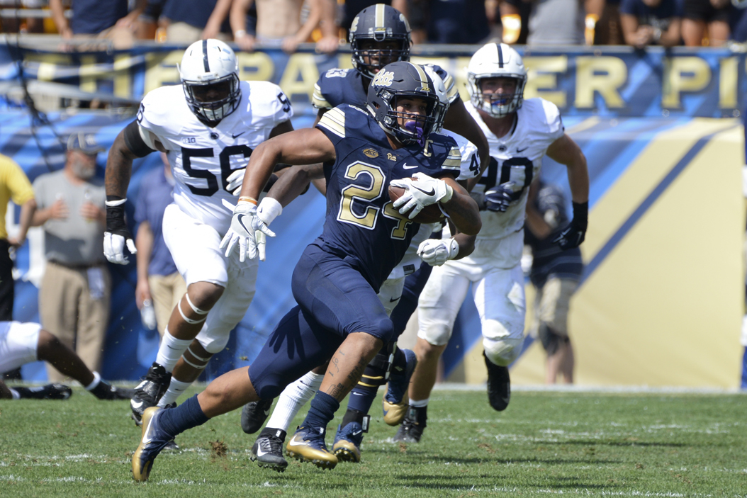 Pitt running back James Conner rushed for 117 yards and two touchdowns in the Panthers' 42-39 victory over Penn State. Jeff Ahearn | Senior Staff Photographer