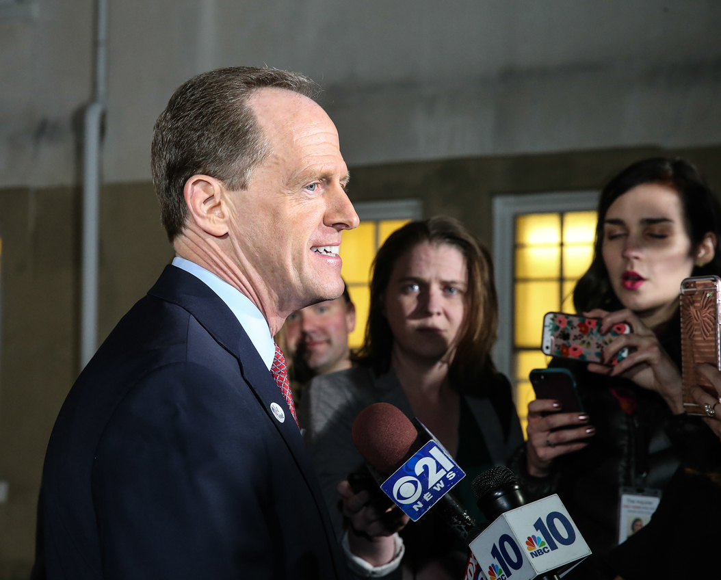 Sen. Pat Toomey (R-Pa.) talks with the media after voting in Zionsville, Pa., on Tuesday, Nov. 8, 2016. (Steven M. Falk/Philadelphia Inquirer/TNS)