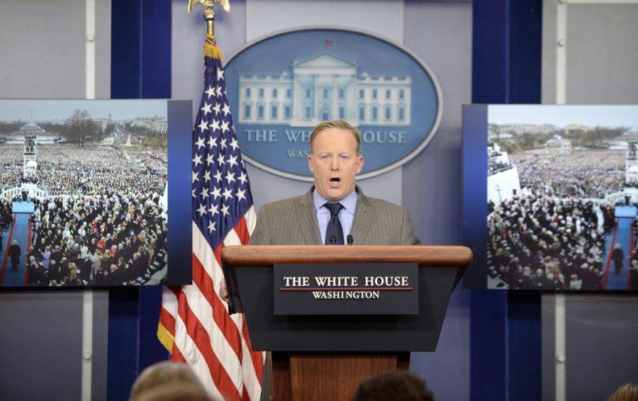 White+House+press+secretary+Sean+Spicer+speaks+in+the+media+briefing+room+on+Jan.+21.+Olivier+Douliery%2FAbaca+Press%2FTNS