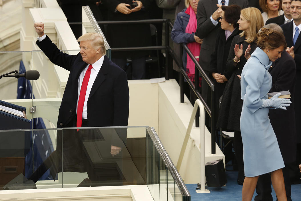 Donald Trump raises his fist before giving his inauguration speech just after being sworn in as the 45th President of the United States. Carolyn Cole/Los Angeles Times/TNS