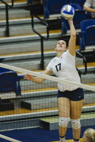 Nika Markovic served a crucial ace in Pitt's 35-33 set win against North Carolina State. Jeff Ahearn   Senior Staff Photographer