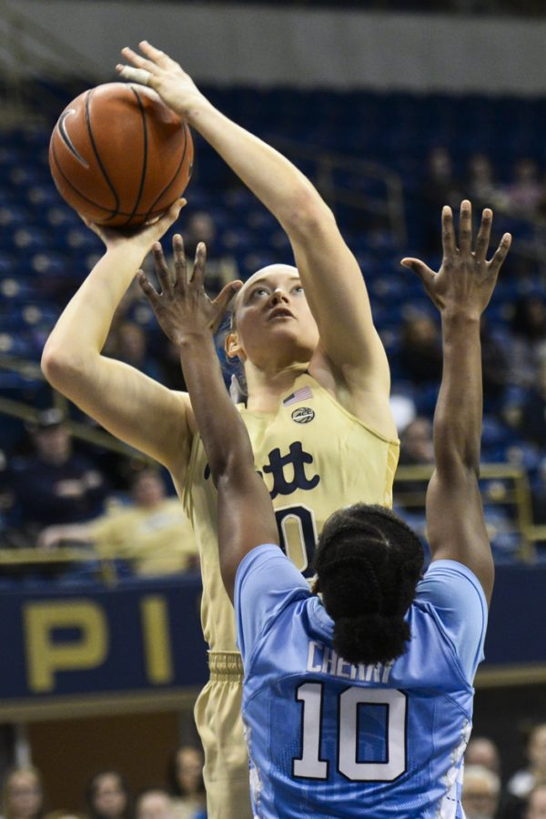 Pitt+sophomore+forward+Brenna+Wise+tallied+a+team-high+11+points+against+NC+State+Thursday+night.+Anna+Bongardino+%7C+Staff+Photographer