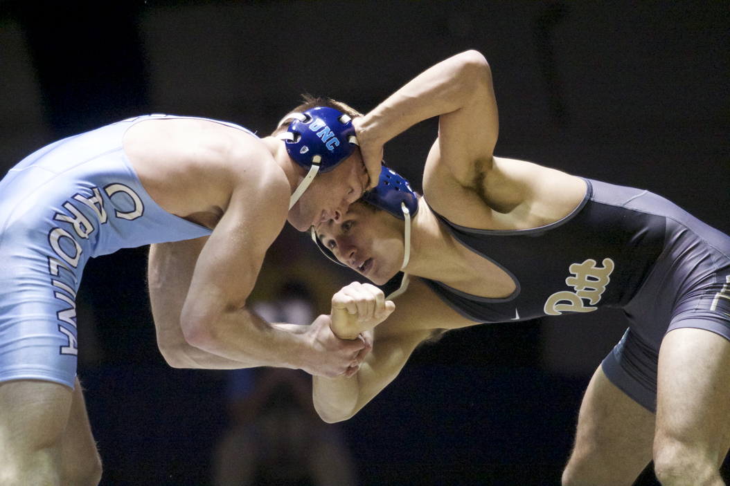 Pitt's Taleb Rahmani defeated UNC's Joey Moon 8-4, but the Panthers lost the dual meet, 20-16. Donny Falk | Staff Photographer