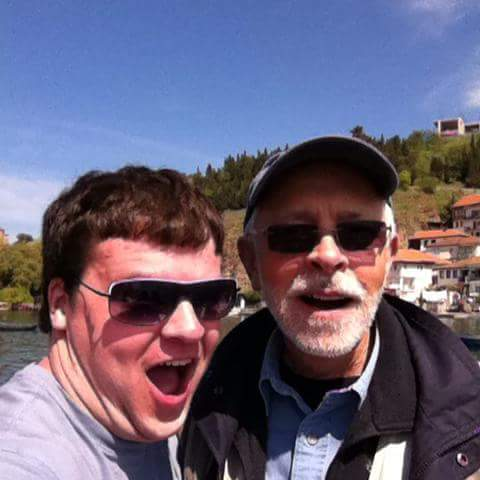 Adam VanGorder took a selfie with John Goldsmith on a boat in Lake Ohrid, Macedonia, during the choir's 2014 tour. | Courtesy of Adam VanGorder