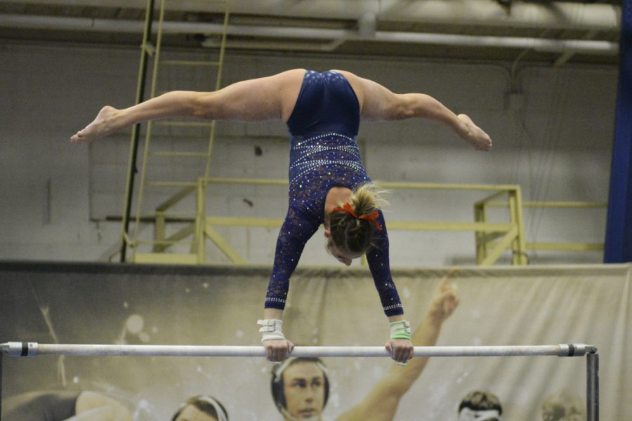 Pitt+first-year+gymnast+Rachel+Dugan+competes+on+the+uneven+bars+in+January.+Jeff+Ahearn+%7C+Senior+Staff+Photograper